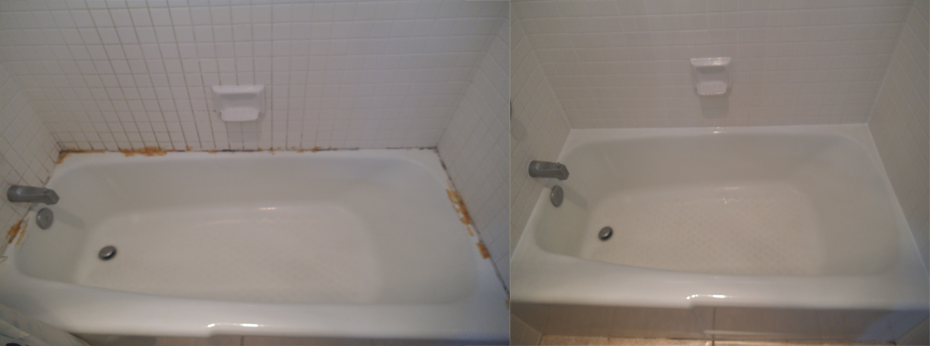 Before And After Tub Grout Cleaning U0026 Recaulking