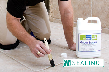 Grout Medic employee clear sealing tile