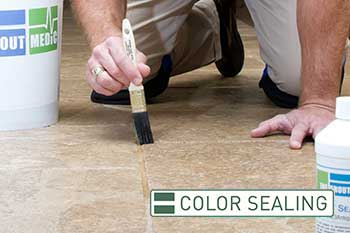 Grout Medic worker color sealing tile
