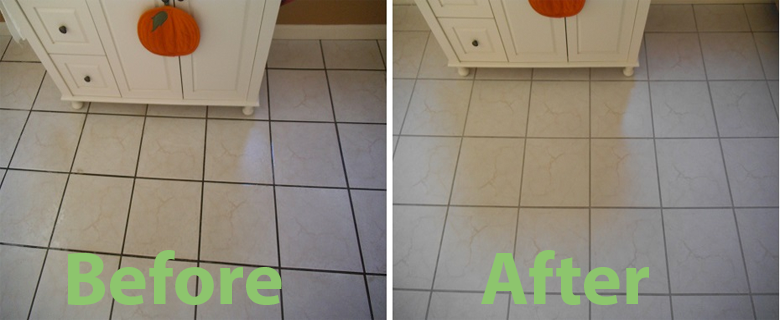 before and after Grout Clean & Color Seal